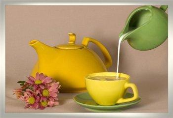 Зеленый чай с молоком и медом