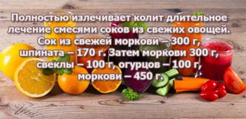 Лечение колита овощными соками