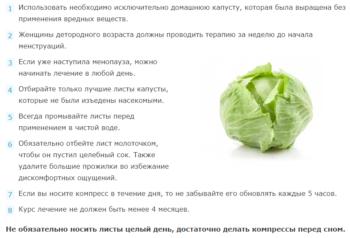 Рекомендации по использованию капустного листа при мастопатии